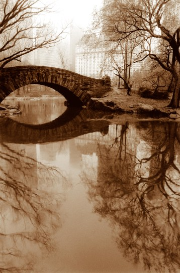 Gapstow Bridge and Plaza Hotel in Fog